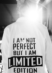 jacket,jumper,printed jumper,black and white,quote on it,t-shirt,i'mnotperfect,japan,korean fashion,Not japan but korea,koranfashion,white shirt,kpop,band,rap monster,korean style,menswear,shirt with a quote,bangtan boys,shirt,bts,white t-shirt,white,black,yes,coat,perfect,limit edition