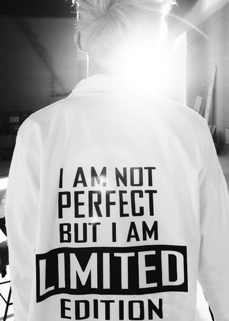 jacket jumper printed jumper black and white quote on it t-shirt i'mnotperfect japan korean fashion not japan but korea koranfashion white shirt kpop band rap monster korean style menswear shirt with a quote bangtan boys shirt bts white t-shirt white black yes coat perfect limit edition