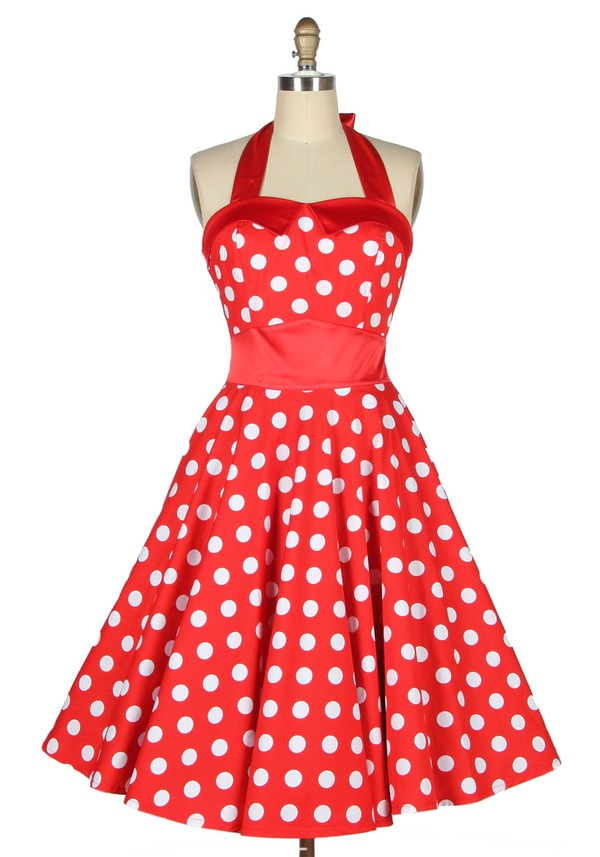 50s style Pin up red dress cute dress halter neck vintage retro 50s style womens dress gilr dress swomg dress rockabilly housewife