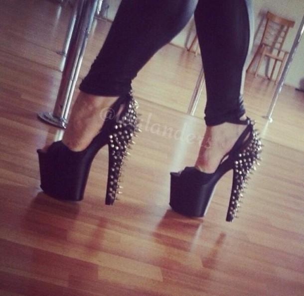 shoes black high heels footwear tumblr instagram followers spikes