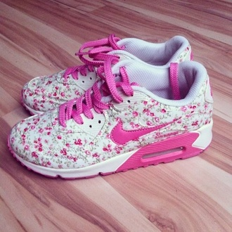 shoes nike pink flower nike sneakers