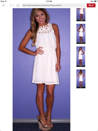 dress chiffon dress white dress white chiffon crochet tan