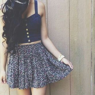 top denim crop tops buttons summer need  blue skirt