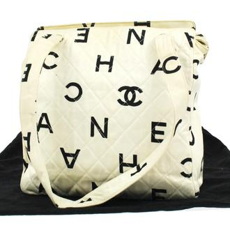 Auth Chanel Quilted CC Logos Shoulder Bag Off White Canvas Vintage France 323E | eBay