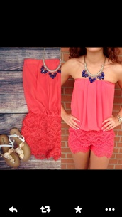 top,romper,jumpsuit,coral romper,coral,jewels,colors.,girly,summer outfits,coral romper with lace shortss,cute,necklace,pink dress,sleeveless,summer,flirty little secret romper,pink romper,pink shorts,pants,lace,lace romper,summer top,cute sandals,blue necklace,orange shirt,shorts,bag,cute dress,salmon romper,strapless