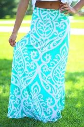 skirt,maxi skirt,aqua,white,summer outfits,beautiful,baby blue,summer