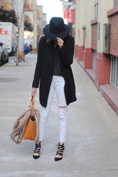 see jane,blogger,ripped jeans,white jeans,black coat,strappy sandals,sweater,coat,jeans,shoes,bag,caged sandals