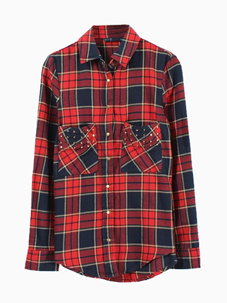 Check Shirt With Stud Pocket   Choies