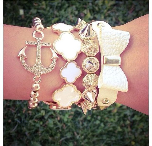jewels pearl anchor bracelet bow bracelet studs