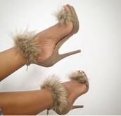 shoes,furry heels,yasss bitch yasss,nude,nude high heels,fur,fuzzy heels,black,swimwear,heels,high heels,nude heels,high heel sandals