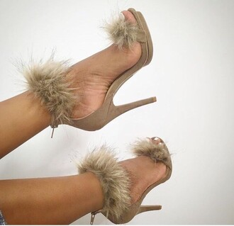 shoes furry heels yasss bitch yasss nude nude high heels fur fuzzy heels black swimwear heels high heels nude heels high heel sandals camel suede suede heels brown brown high heels fluffy
