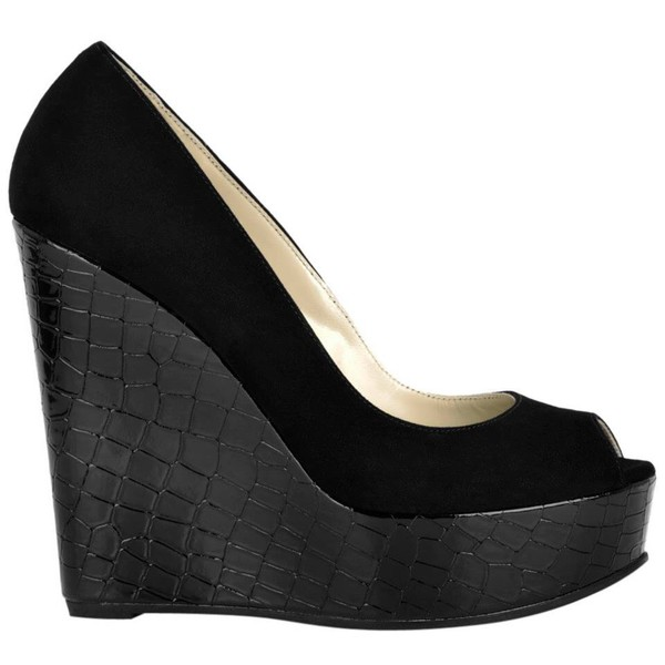 shoes black wedges