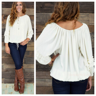 top taupe top fall outfits fall tops peasant blouse boho boho chic ruffle sleeve trendy amazing lace