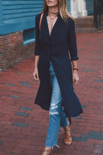 prosecco and plaid blogger coat dress jeans jewels shoes make-up necklace choker necklace watch long shirt blue jeans ripped jeans sandals lace up sandals