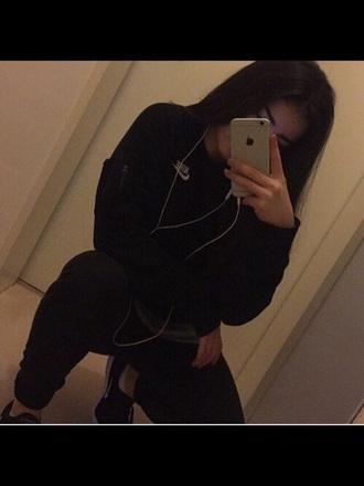 sweater nike sweaters jacket nike black ghetto tumblr justdoi hoodie