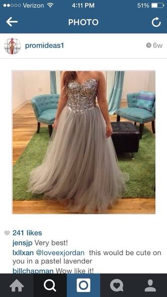 dress rhinestones jewels chiffon tulle skirt a-line gray long ballgown full skirt corset top bedazzled bejeweled strapless beaded beaded bodice prom dress prom gown