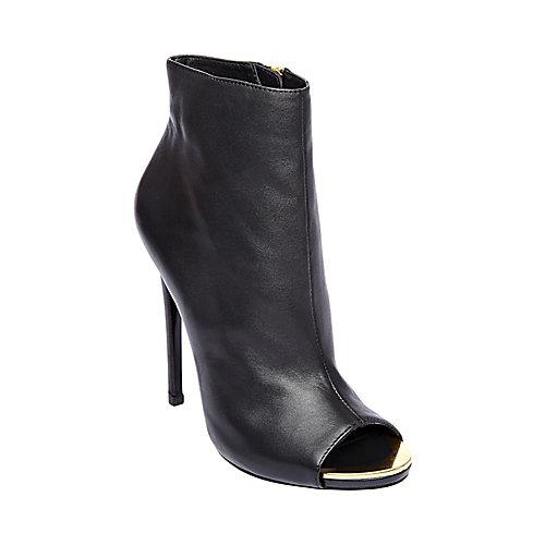 Dianna black leather women s dress high peep toe steve madden