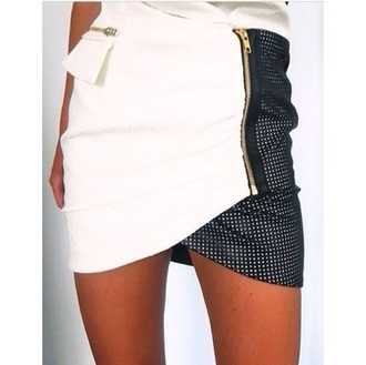 skirt black black and white gold asymmetrical skirt grey office outfits