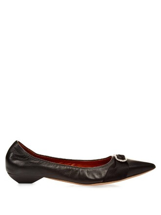 bow ballet embellished flats ballet flats leather black shoes