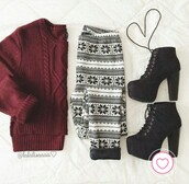 leggings,print,burgundy,black leggings,white leggings,sweater,boots,black,white,red,burgundy sweater,black boots,platform lace up boots,shoes,pants,oversized sweater,shirt,heels,booties,jeggings,outfit,cardigan