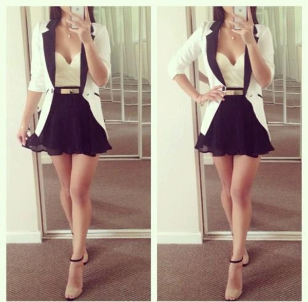 jacket black and white blazer classy style gold i love belt shirt shoes skirt