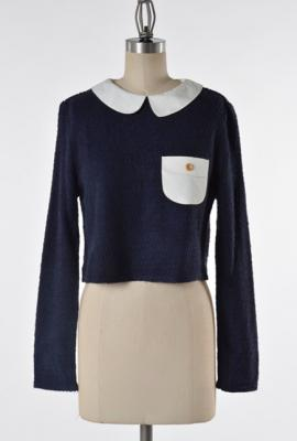 Quirky preppy me contrast collar long sleeve crop top by comme toi