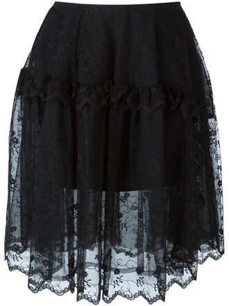 skirt tulle skirt embroidered black