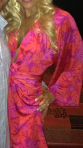 dress,plunge neckline,hot pink and mango wrap dress w kimono sleeves