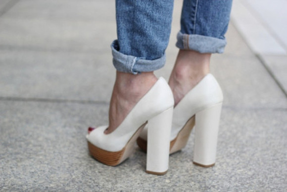 shoes platform shoes platform high heels chunky heels white high heels jeans denim vintage