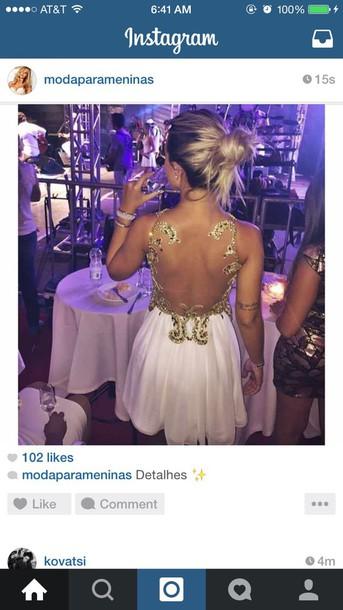 dress short dress white dress white gold gold sequins open back prom dress open back dresses open back white prom dress prom dress prom gown prom dress
