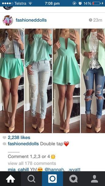 dress blouse shoes jeans jacket cardigan top shorts