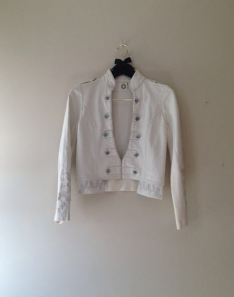 jacket white white jacket white leather jacket military jacket embroidery