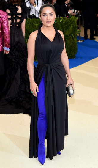 shoes blue black dress slit dress salma hayek met gala met gala 2017