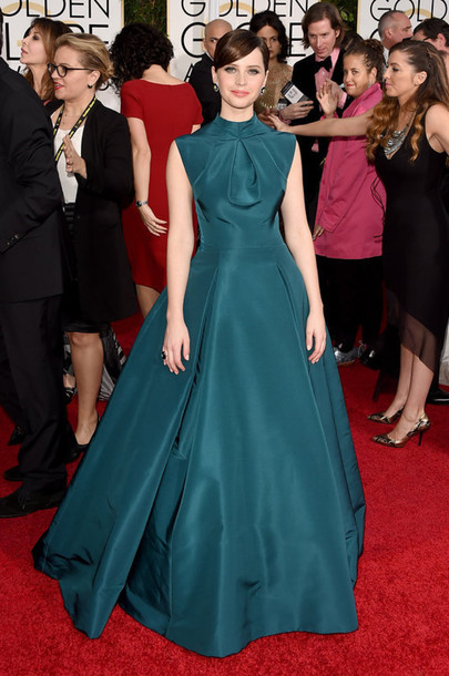 dress red carpet dress Golden Globes 2015 felicity jones gown