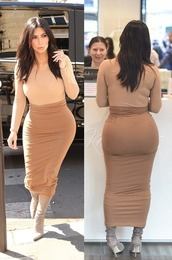 skirt,maxi skirt,tight skirt,kim kardashian,fashion week 2014,streetstyle,top,bodysuit,camel,cardigan