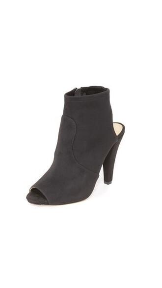 open booties black shoes