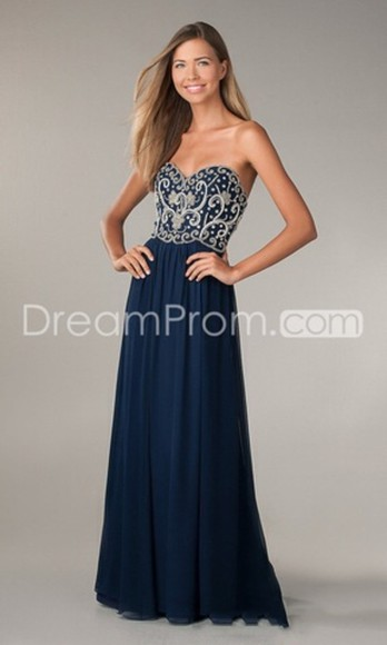 dress embroidered prom pretty detailed detail corset long stylish blue dark navy strapless