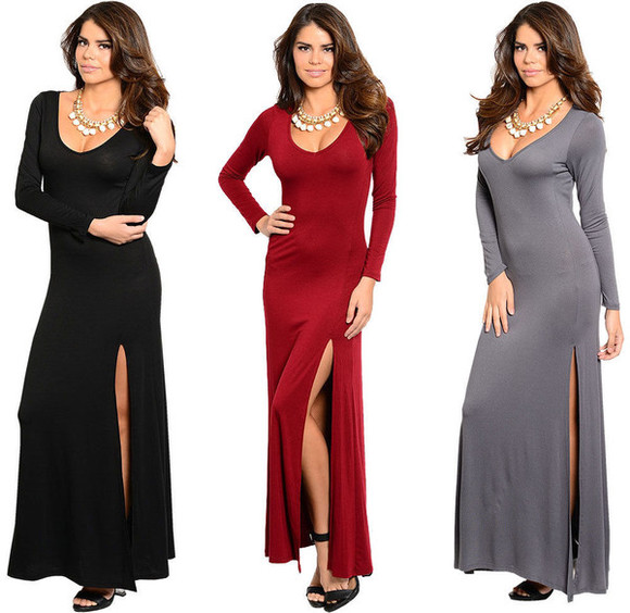 maxi dress high slit dress deep v neck dress long dress maxi