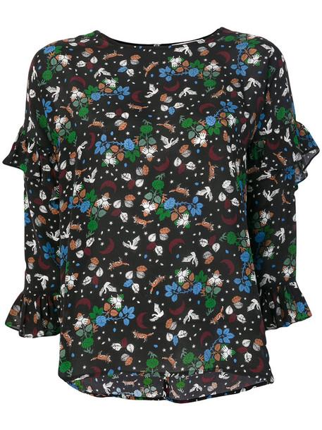 blouse women floral black silk top