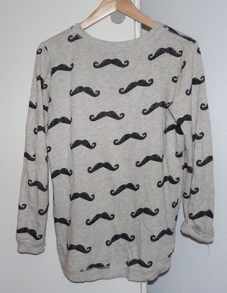 sweater moustache pull moustache pullover gris grey sweatshirt sweatshirt black black and grey cool story bro cool love pink fatiguée