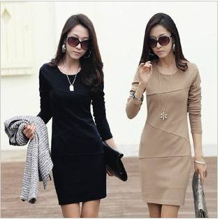 Free Shipping 2013 New Autumn and Winter Long-sleeve Dress Women's Slim Hip Patchwork Elegant One-piece OL Dress Big Size S~3XL | Amazing Shoes UK