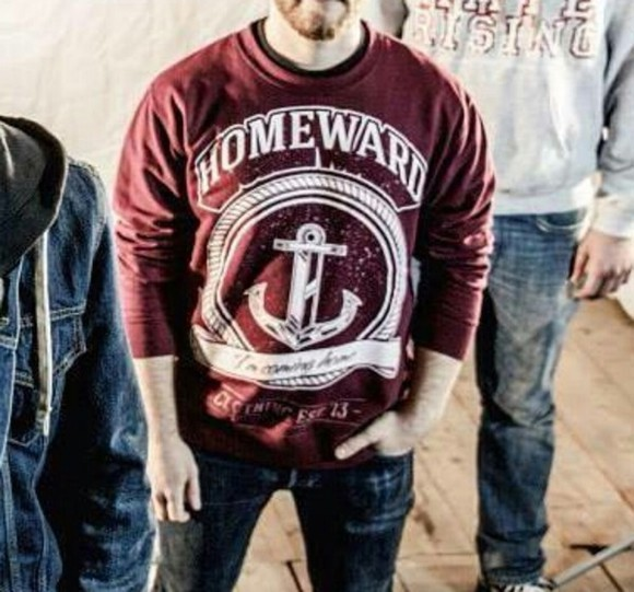 sweater boys sweatshirt anchor where did u get that pullover home guys red