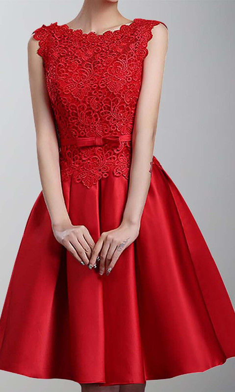 Short Red Bridesmaid Dress Oblong Neckline Ksp430 Ksp430