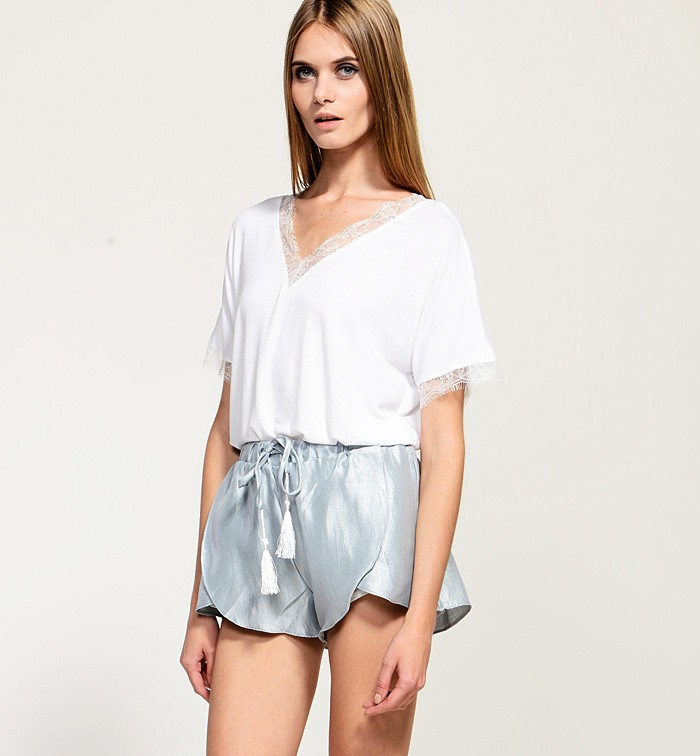 High Waist Shorts With Drawstring & Drop Tassels