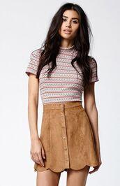 skirt,scalloped skirt,scalloped,mini skirt,camel suede skirt,camel skirt,button up skirt,top,striped top