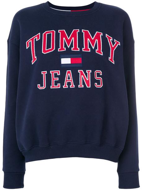 tommy jeans sweatshirt women cotton blue sweater