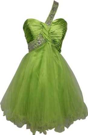 Amazon.com: Goddess Beaded One-Shoulder Mesh Party Dress Prom Gown: Clothing