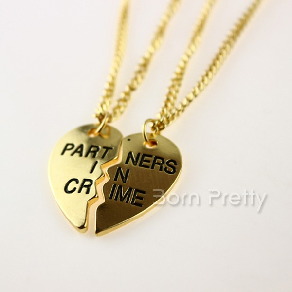 $3.78 2Pcs/set Broken Heart Chain Link Necklace Gold Plated Letter Decor - BornPrettyStore.com