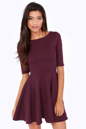 Cute Burgundy Dress - Skater Dress - Dress with Sleeves - $49.00