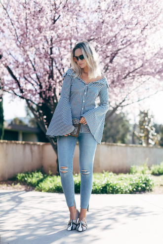 late afternoon blogger shirt jeans shoes sunglasses bag bell sleeves skinny jeans